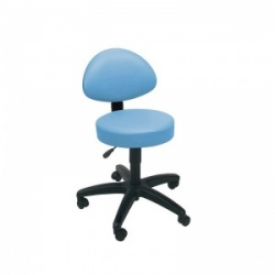 Sunflower Medical Cool Blue Gas-Lift Stool with Back Rest