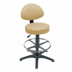 Sunflower Medical Beige Gas-Lift Stool with Back Rest, Foot Ring and Glides