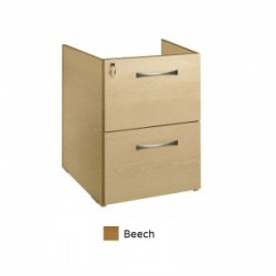 Sunflower Medical Beech Two Drawer Fixed Under Desk Pedestal