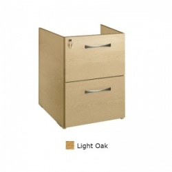 Sunflower Medical Light Oak Two Drawer Fixed Under Desk Pedestal