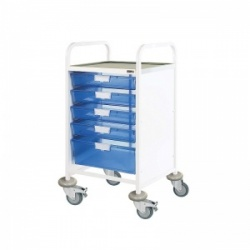 Sunflower Medical Vista 50 Standard Level Clinical Procedure Trolley with Four Single and One Double-Depth Blue Tray