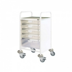 Sunflower Medical Vista 50 Standard Level Clinical Procedure Trolley with Four Single and One Double-Depth Clear Tray