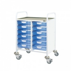 Sunflower Medical Vista 60 Double-Column Clinical Procedure Trolley with 12 Single-Depth Blue Trays