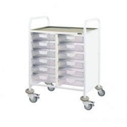 Sunflower Medical Vista 60 Double-Column Clinical Procedure Trolley with 12 Single-Depth Clear Trays