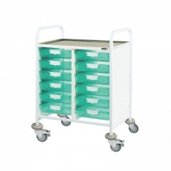 Sunflower Medical Vista 60 Double-Column Clinical Procedure Trolley with 12 Single-Depth Green Trays