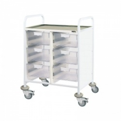 Sunflower Medical Vista 60 Double-Column Clinical Procedure Trolley with Six Double-Depth Clear Trays