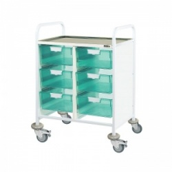 Sunflower Medical Vista 60 Double-Column Clinical Procedure Trolley with Six Double-Depth Green Trays