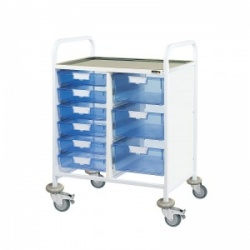 Sunflower Medical Vista 60 Double-Column Clinical Procedure Trolley with Six Single and Three Double-Depth Blue Trays