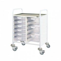 Sunflower Medical Vista 60 Double-Column Clinical Procedure Trolley with Six Single and Three Double-Depth Clear Trays
