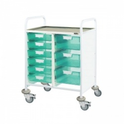 Sunflower Medical Vista 60 Double-Column Clinical Procedure Trolley with Six Single and Three Double-Depth Green Trays