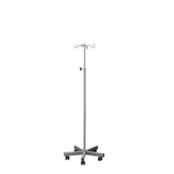 Sunflower Medical Weighted Stainless Steel IV Stand with Four Chrome Hooks