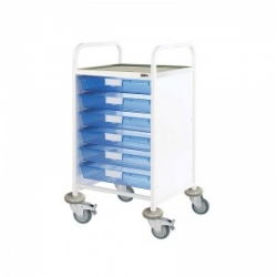 Sunflower Medical Vista 50 Standard Level Clinical Procedure Trolley with 6 Single-Depth Blue Trays