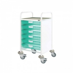 Sunflower Medical Vista 50 Standard Level Clinical Procedure Trolley with 6 Single-Depth Green Trays