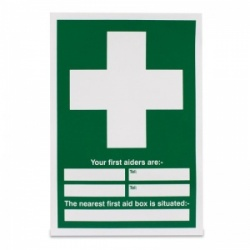 'Your First Aiders Are Located' Safety Sign